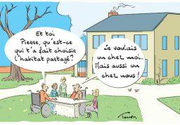 dessin de personnes avec un handicap dans le jardin de leur maison