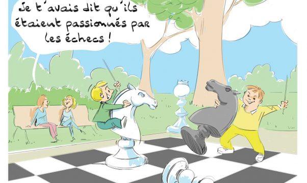 dessin de deux enfants avec un handicap utilisant un jeu d'échecs gandeur nature comme des chevaux.