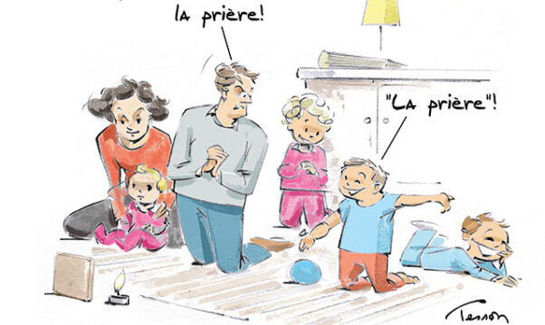 dessin de Luc Tesson : prière en famille